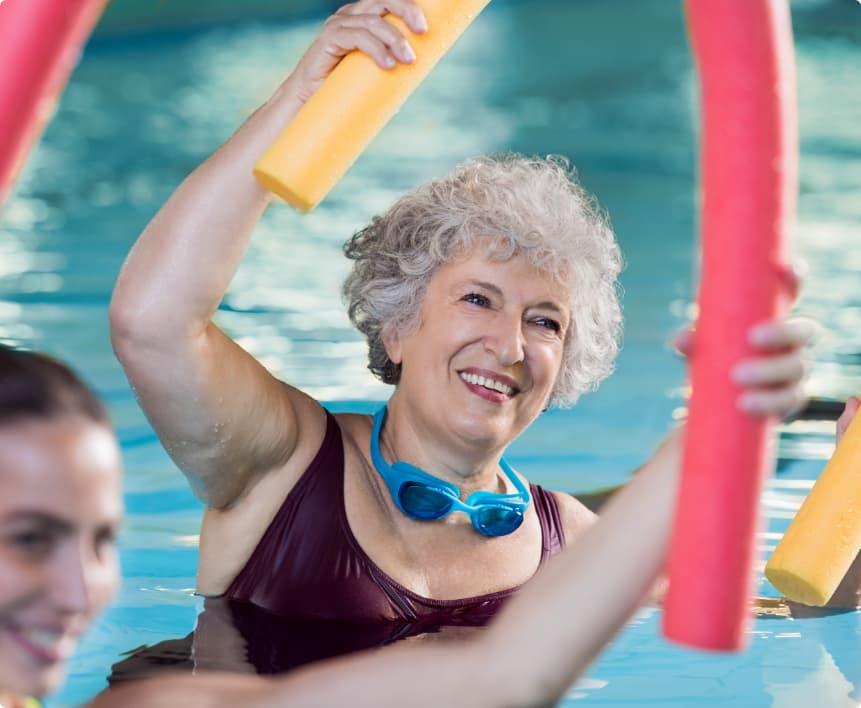 senior woman swimming